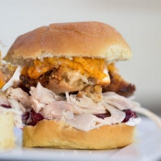 Thanksgiving Leftovers Sandwich made with all of your favorite leftovers! You can also use Christmas dinner leftovers in this recipe!