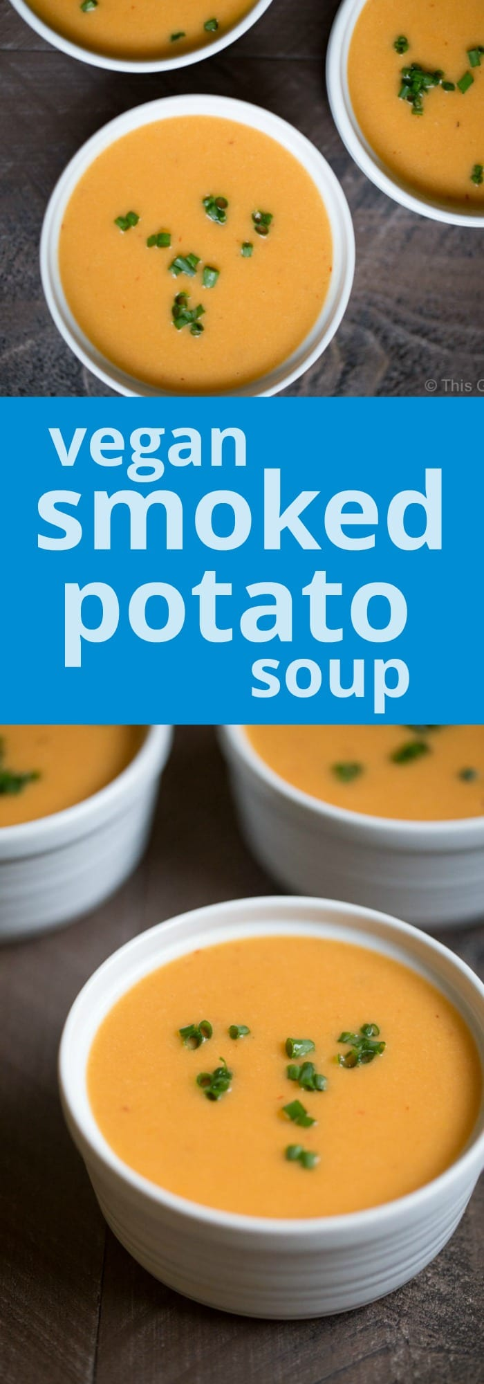 Vegan Smoked Potato Soup. The secret to achieving a smoky soup without using ham or bacon: smoke the potatoes! | This Gal Cooks