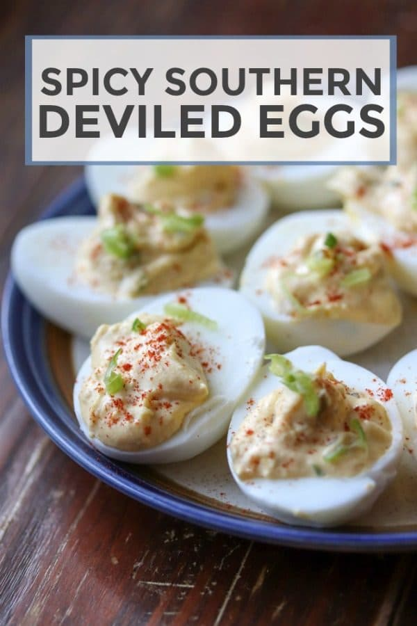 These delicious southern deviled eggs are spiced up with hot sauce and chopped jalapenos. A sure treat for anyone who loves deviled eggs! #deviledeggs #eggs #appetizer #lowcarb
