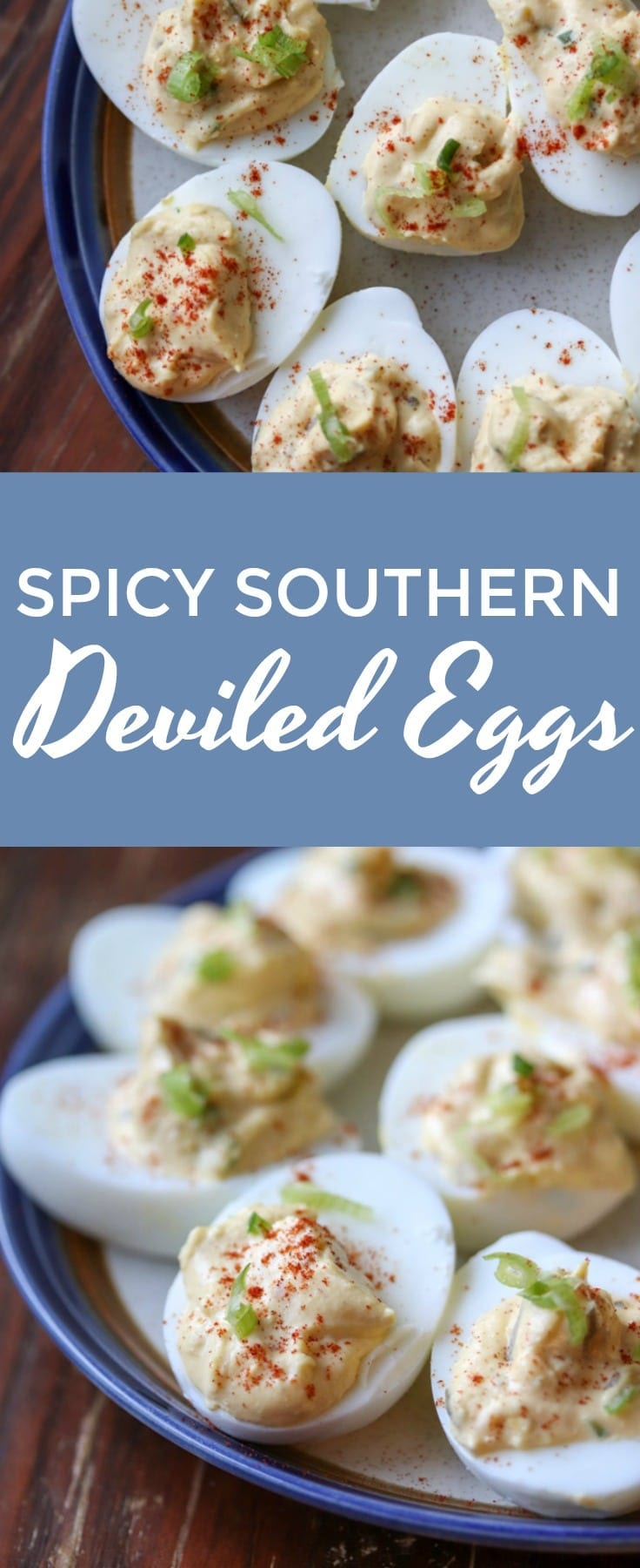 These delicious southern deviled eggs are spiced up with hot sauce and chopped jalapenos. A sure treat for anyone who loves deviled eggs!