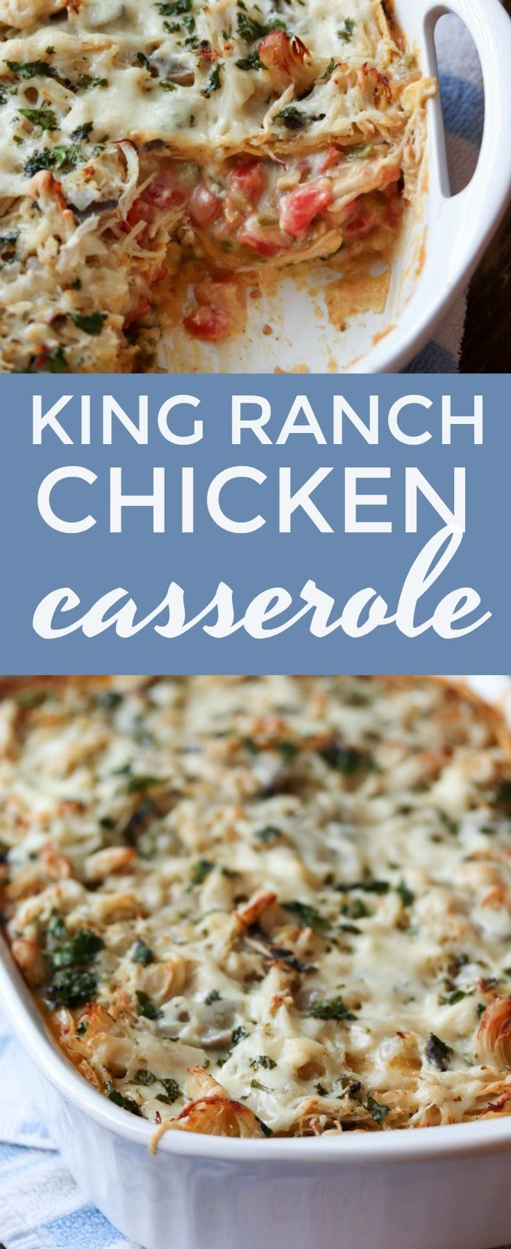 King Ranch Chicken Casserole. This creamy, boldly flavored #chicken #casserole feeds a crowd! A true southern classic that will WOW everyone. #southerncooking #dinner