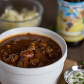 Thick and hearty Stout Beer Chili. This comforting and flavorful #chili recipe is made with Clown Shoes Chocolate Sombrero #stout. #dinner #soup #savory #falleats
