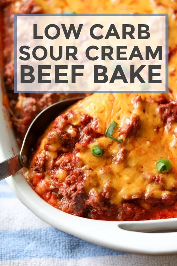 Low Carb Sour Cream Beef Bake #lowcarb #glutenfree #beef #dinner #casserole #recipe