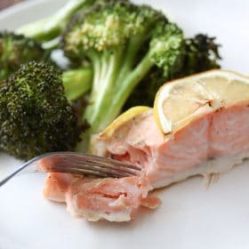 Lemon Dijon Sheet Pan Salmon with Broccoli is an easy cleanup, healthy low carb dinner recipe! If you're watching your carbs and/or eating clean then this recipe is for you! #lowcarb #keto #paleo #realfood #glutenfree #healthyfood