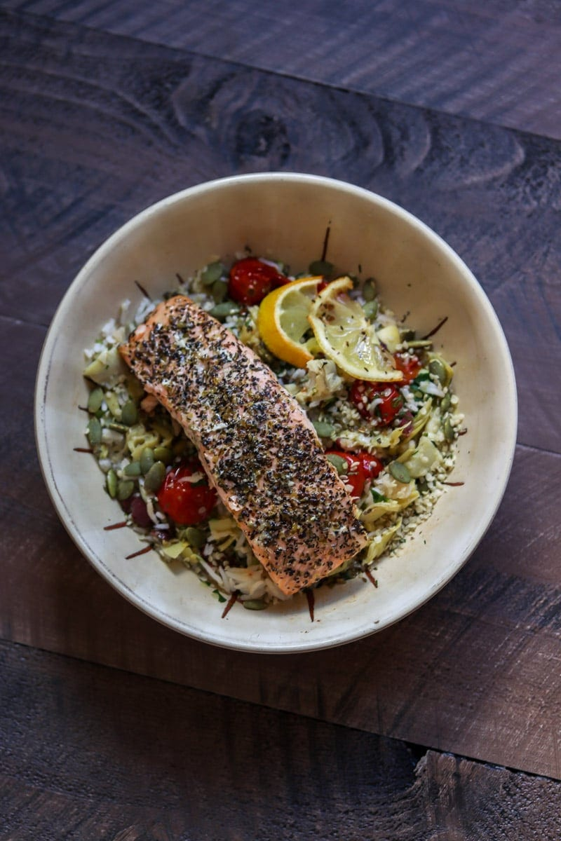 A Really Good Salmon Bowl that's full of healthy and flavorful ingredients. #salmon #healthy #recipe #glutenfree #healthyrecipe