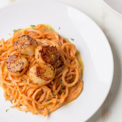 Blackened Scallops with Sweet Potato Noodles