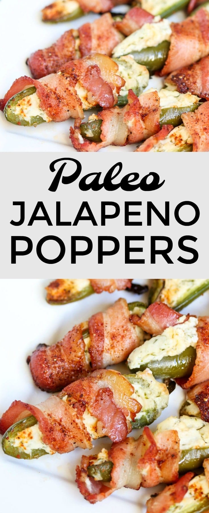 These #paleo jalapeno poppers are stuffed with a mixture of Kite Hill almond cream cheese, Primal Kitchen mayo, wrapped with sugar free bacon and sprinkled with sugar free BBQ rub. A perfect #appetizer for parties and a tasty side dish to pair with a juicy steak or chicken breast. Grill or bake! #keto #partyfood #glutenfree #bacon