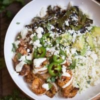 Shrimp Fajita Bowls with Cilantro Lime Cauliflower Rice