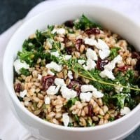 Healthy Farro Salad with Kale, Cranberries and Goat Cheese