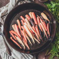 Roasted Rainbow Carrots (with carrot puree instructions)