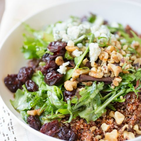 Baby Greens Salad with Quinoa and Honey Balsamic Vinaigrette