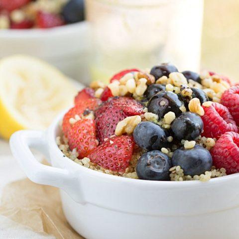 Fresh Berry Salad with Walnuts + Quinoa