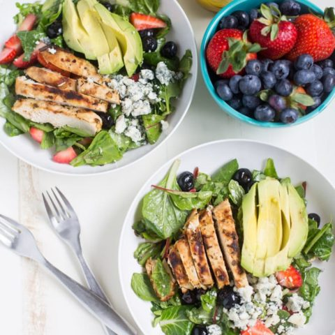 Gorgonzola Chicken Salad with Berries and Avocado