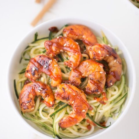 Cucumber Noodle Bowls with Sesame Shrimp
