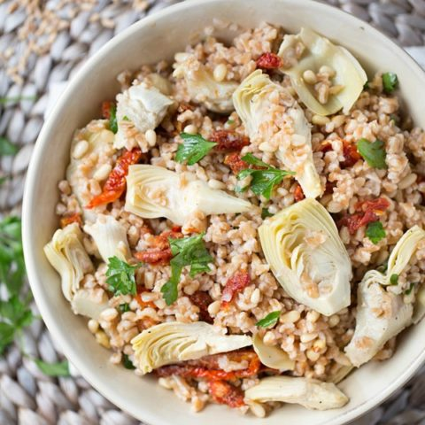 Farro Salad with Sun Dried Tomatoes and Artichokes