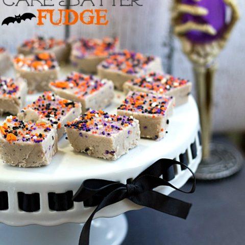 Halloween Cake Batter Fudge