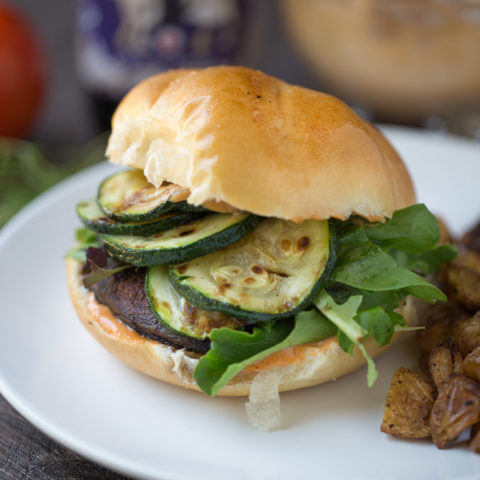 Blackened Portobello Burger (dairy free + vegetarian)