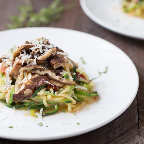 Zucchini Noodles with Shiitakes and Tomato Sauce