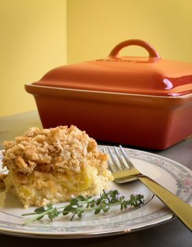 one-helping-of-squash-casserole-with-le-creuset-casserole-dish